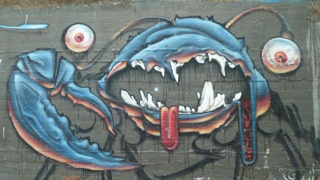 crab graffiti along yarra