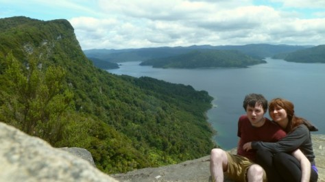 daniel and jamie on bluff above lake waikaremoana