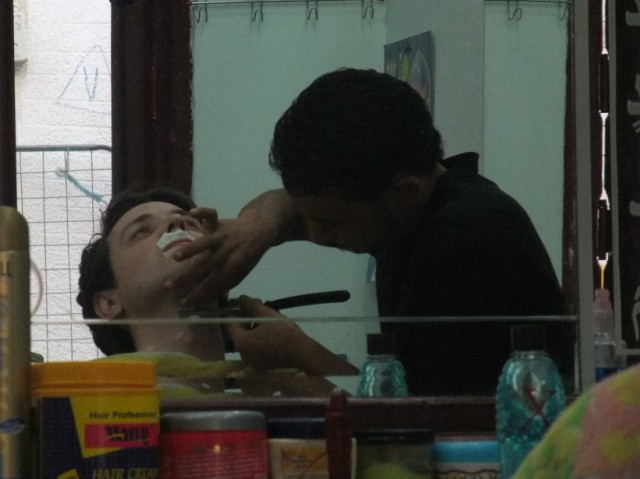 Getting a shave in Egypt