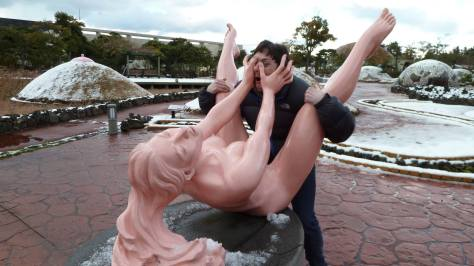 daniel having sex with a statue of a naked woman at loveland jeju korea
