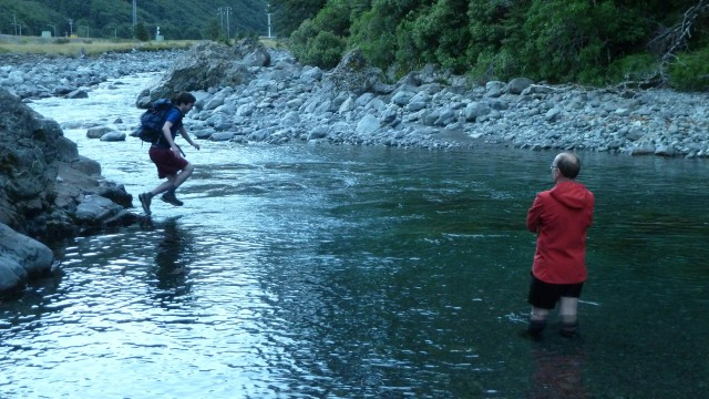 daniel jumping into river in arthurs pass