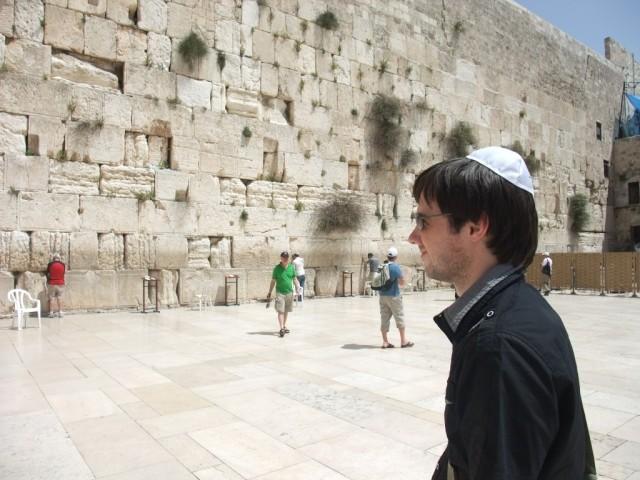daniel standing beside wailing wall jerusalem