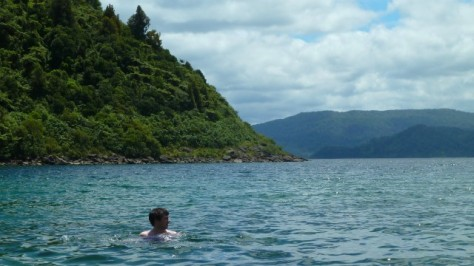 daniel swimming in lake waikaremoana