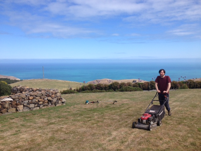 daniel using a lawnmower