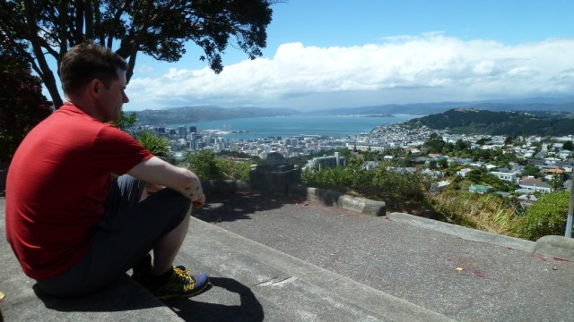 fraser looking out on view of wellington