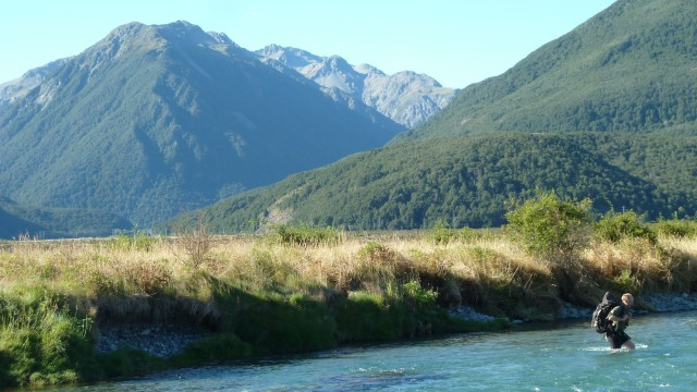 geoff crossing river in arthurs pass