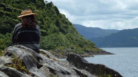 girl sitting on rock looking out on lake waikaremoana