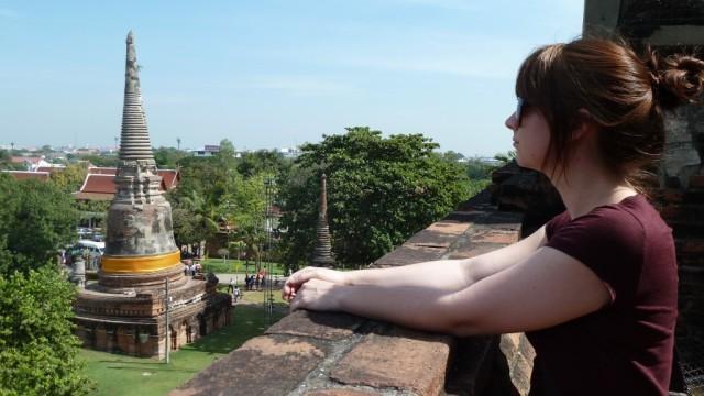 jamie looking at a pagoda