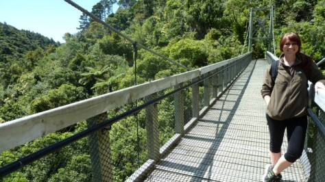 jamie standing on zealandia suspension bridge