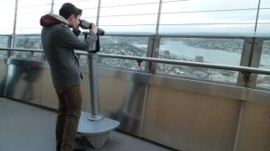 Looking through telescope from Space Needle