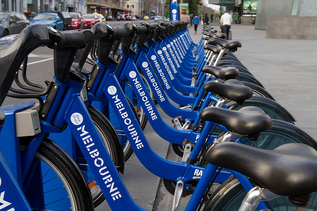 Bike rentals in Melbourne, Australia CBD.
