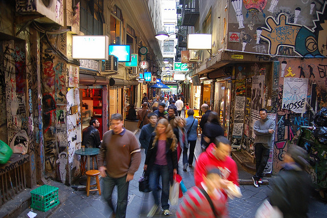 Laneways in Melbourne, Australia.