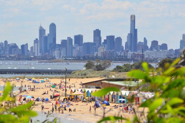 Melbourne skyline seen from Brighton Beach.