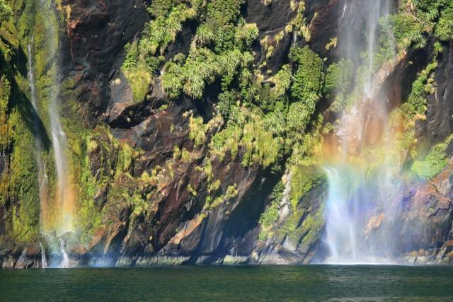 rainbow waterfall milford sound